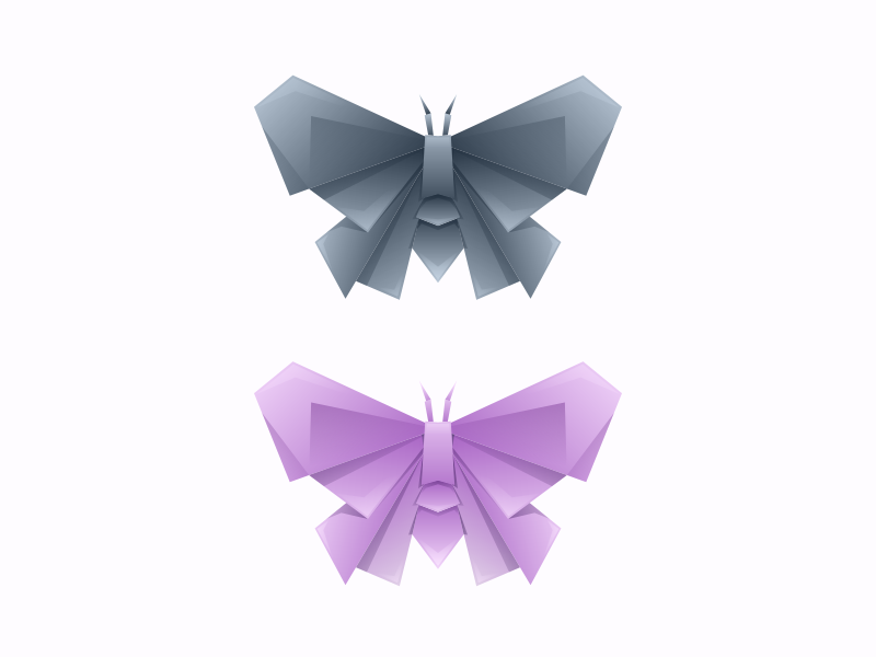 butterfly origami logo business brand wing designer black character vector illustrator simple cute colorful branding design identity logo