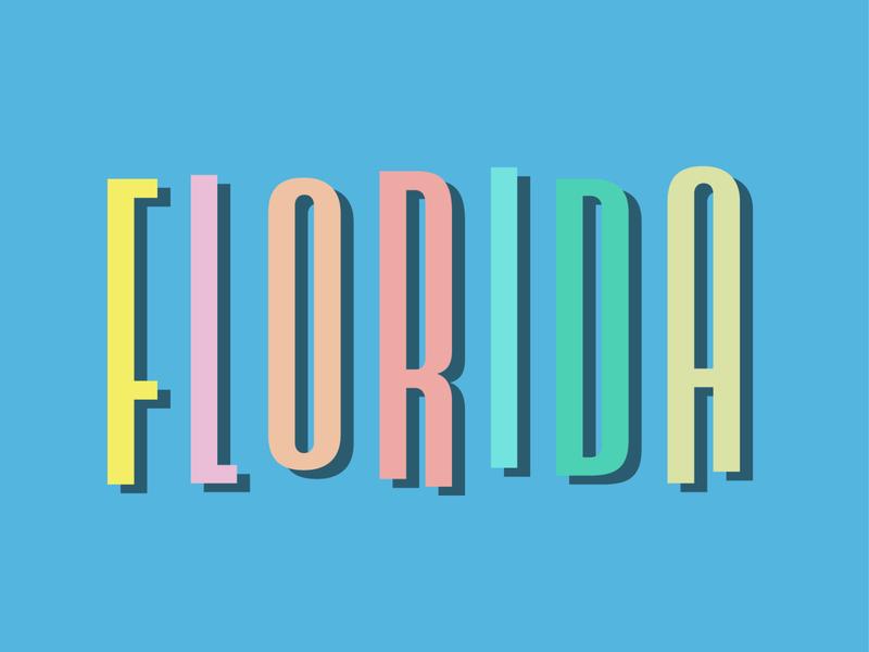 Florida (1 of 3) sunshine playful fun tropical sun wordmark typography florida design type lockup logo
