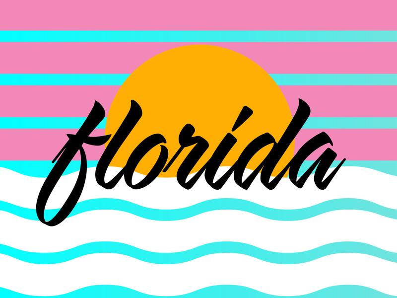 Florida (3 of 3) miami vice beach water sunset tropical fun sun sunshine miami florida typography vector design lockup type logo