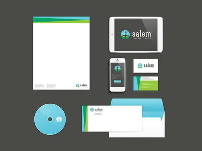 Salem Collateral stationary collateral logo leaf cross church