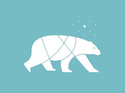 Polar Bear christmas illustration pole winter snow star stars north star north bear polar polar bear