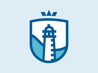 Lighthouse logo icon nautical lines thick crown shield badge waves ocean water lighthouse