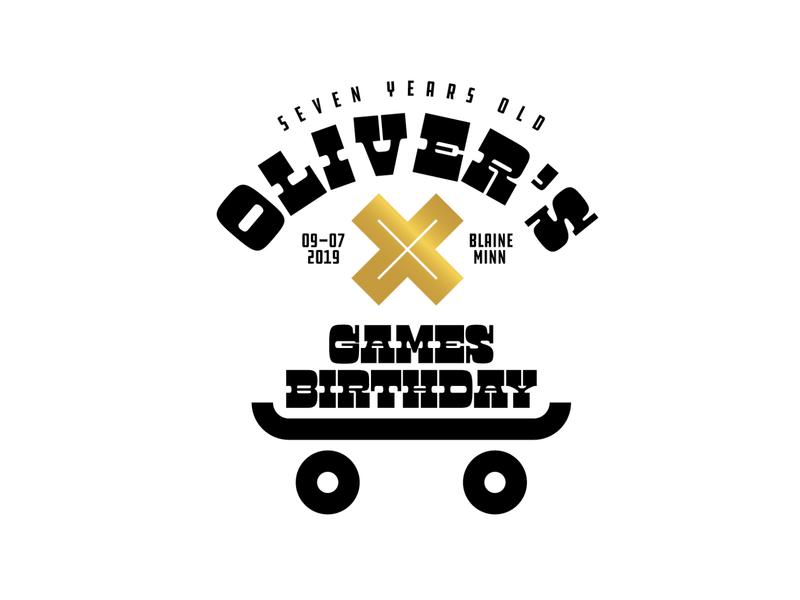 Oliver's X-Games Birthday Party! birthday skateboard x-games design vector custom badge illustration minneapolis lockup logo