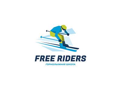 Free Riders fast extreme snow mountain sports logo sport school ski school skier ski brand logodesign brand identity brand design mark logotype branding vector design logo