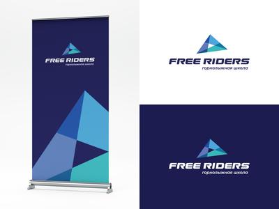 Free riders ice montains mountain sportswear sports branding sports design skiing ski school ski sports logo sport logodesign brand identity brand design mark logotype branding vector design logo