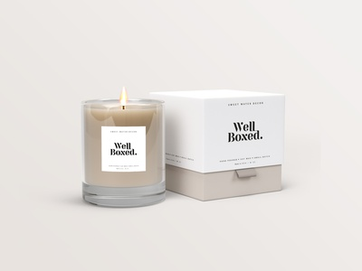 Well Boxed candle shop candle packaging candle poster package packaging design packagedesign brand typography logodesign mark logotype brand identity brand design branding vector design logo