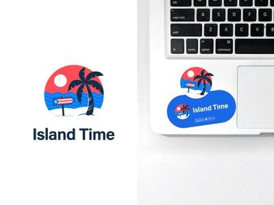 Island Time brand palmtree applogo sea sunset puertorico puerto rico vacation island beach typography logodesign logotype mark brand identity brand design branding vector design logo