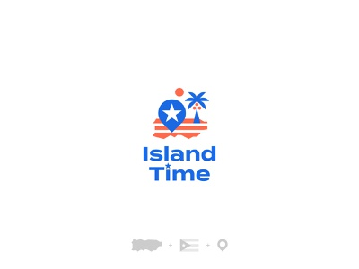 Island Time sea palm flag location location app logo design brand vacation puertorico island typography logodesign logotype mark brand identity brand design branding vector design logo