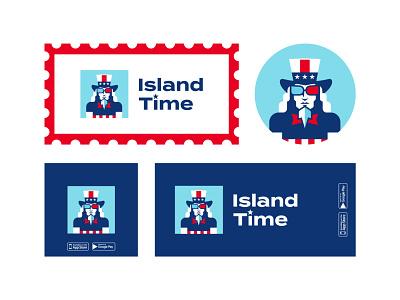 Island Time usa vacation sunglasses application logoforapp island logotypes branding design unclesam uncle sam brand logodesign logotype mark brand identity branding brand design vector design logo