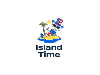 Island Time costa rica usa flag logoforapp sea vacation sun palm uncle sam island usa typography logodesign logotype mark brand identity brand design branding vector design logo