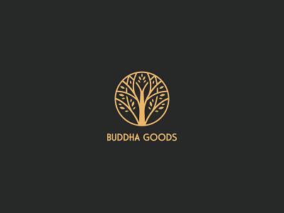 Budha goods gold foil buddha organic logo organic natural goods natural tree brand typography logodesign logotype mark brand identity brand design branding vector design logo
