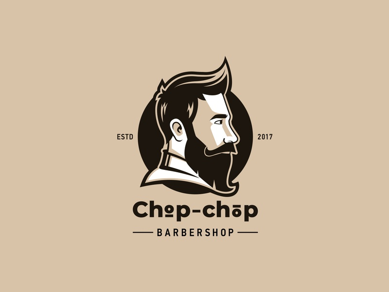 Chop Chop beard man barbershop vector design logo