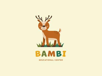 Bambi education baby kids center childrens illustration children kids deer design logo