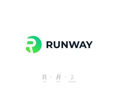 Runway runway run letter r branding vector design logo