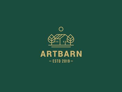 ArtBarn cottage village landscape home house tree village cottage branding vector design logo