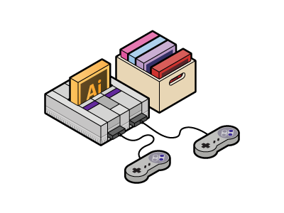 My favourite game snes adobe illustrator videogame game console isometric vector