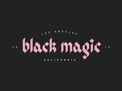 * B L A C K  M A G I C * logo type logo typography pink black letter gothic los angeles california black magic