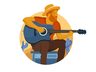 Street singer uiux hat guitar singer street digital man minimal character vector illustration
