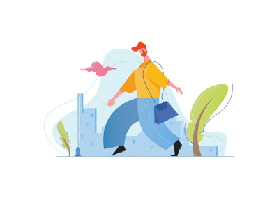 Man walking manwalking walking tree green vector digital character characterdesign man minimal dribbbleshot illustration