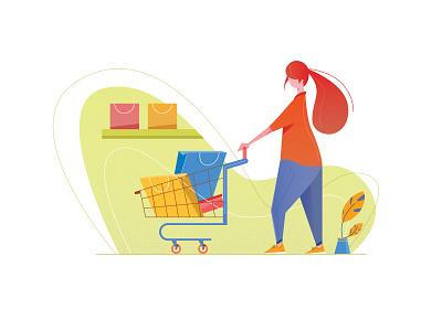 Shopping plant green vector characterdesign art minimal character dribbbleshot illustration app shopping app ui lady shopping
