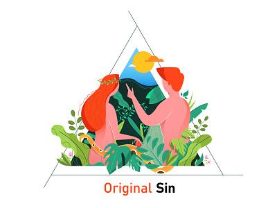 Original sin characterdesign leaf plant eve adam tree dribbbleshot digital art minimal vector illustration