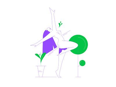 Dancing lady minimal character digital illustration vector