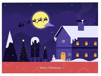 Merry Christmas :) december santaclaus stars cloud shades vector moon house home ui merrychristmas gift snowman tree santa snow night lights christmas illustration