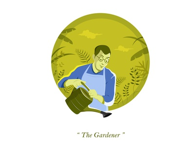 The Gardener life earth uiux ui plants flowers garden nature green characterdesign minimal character vector digital illustration