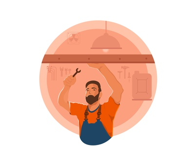The Mechanic shot working uiuxdesign workshop mechanic man character minimal vector dribbbleshot illustration