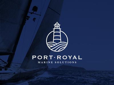 Port Royal Marine Solutions logo identity brand branding corporate marine sea lighthouse sail sailing regatta port royal