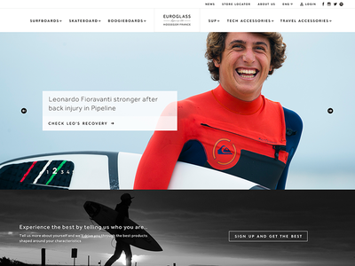 Euroglass90.com - Homepage stephen belly fifth beat leonardo fioravanti bradley skateboard surfboard surf website ux ui interface