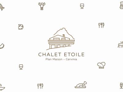 Chalet Etoile - Rebranding one line matterhorn alps cervinia chalet ski restaurant icons branding logo