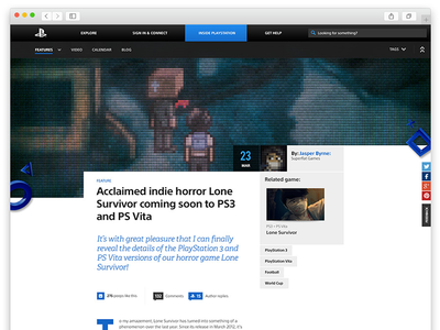Inside Playstation - redesign sonyplaystation.com article blog responsive interface design ux ui playstation sony