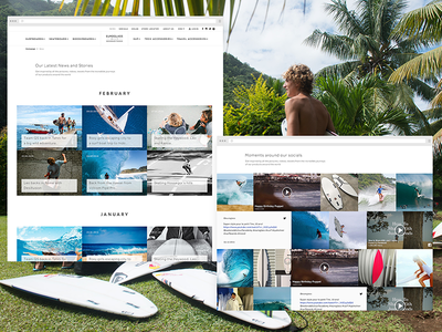Stories and socials wall - Euroglass surfboards stephen belly leonardo fioravanti fifth beat stories website ux ui surfboard surf skateboard interface bradley