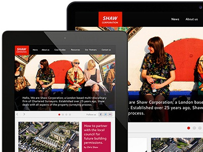 Shaw Corporation Responsive mobile desktop responsive web design ui ux wireframe surveyors tablet