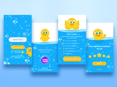 Mobile App Screens octopus blue design app mobile android layout ux user-interface
