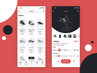 Adidas App Challenge design user interface adidas black red interface ios mobile ux ui shop clean concept app