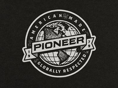 Pionner // Badge vector screen print texture distress apparel design branding typography logo