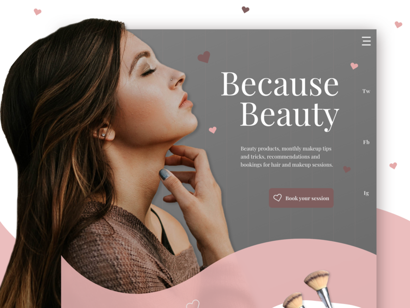 Because Beauty Landing Page Ui Concept abobexd photoshop pink minimal woman brand beauty color clean type website flat web icon ux typography branding ui logo design