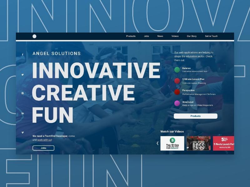 Angel Solutions landing page UI concept branding landingpage concept web blue ux ui