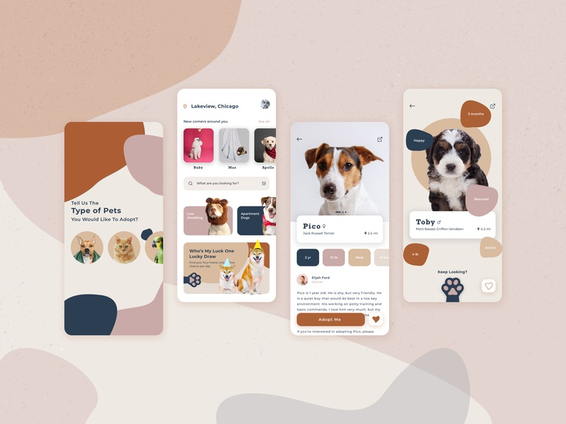 Pet Adoption App animals colorful color palette ios app design concept adoption app designer overview app design uiux ui pet adoption pets