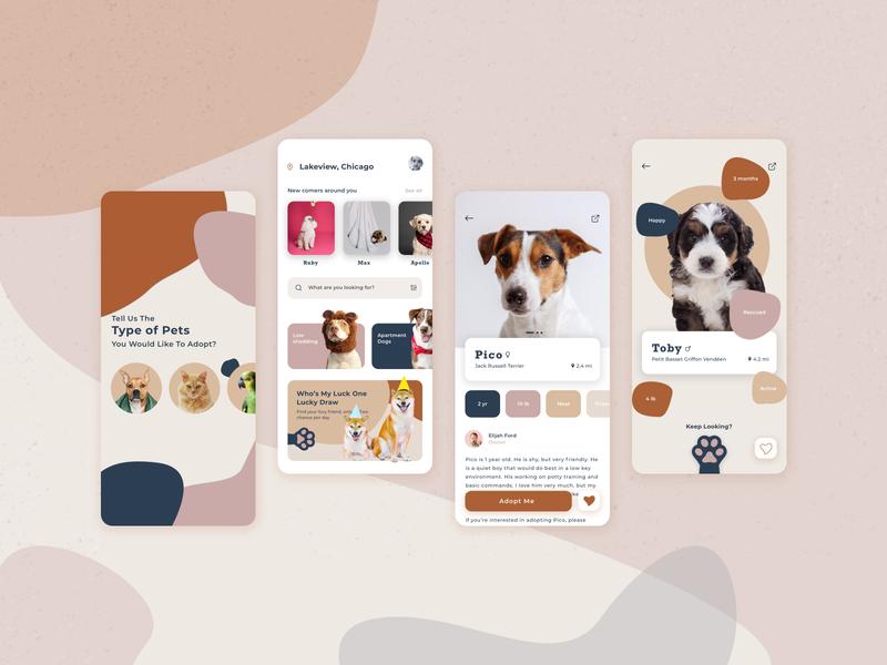 Pet Adoption App animals colorful color palette ios app design concept adoption app designer overview app design uiux ui pet adoption pets