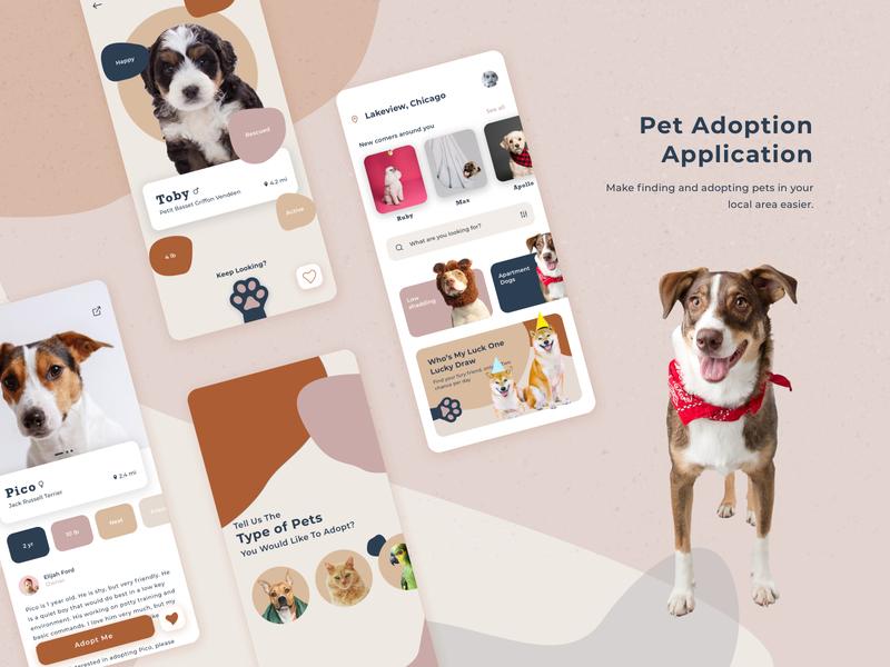 Pet Adoption App hybrid product page pet adoption design concept colorful color palette animals pets pet adoption app designer overview app design uiux ui