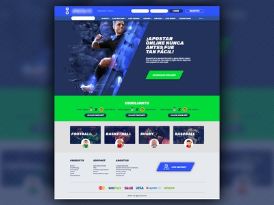 Landing page for a sports betting platform sports ui vector betting bet online gaming sportsbook landing landing page