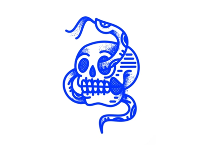 Bad Times halftone stamp icon badge procreate texture vector vintage tattoo snake traditional skull
