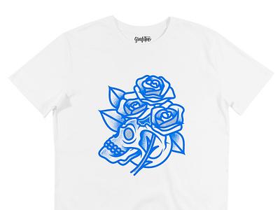 T-Shirt Flower Skull tattoo traditional roses skull vector apparel merch tshirt tee