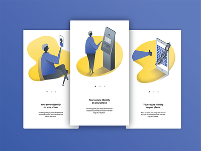 Onboarding illustrations for a biometric identification app vector mobile identity biometric editorial illustration onboarding travel app travel
