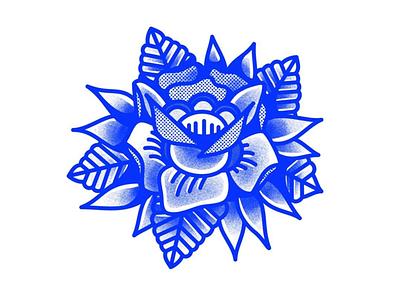 Wildrose flower texture tradicional blue vector art vector tattoo rose