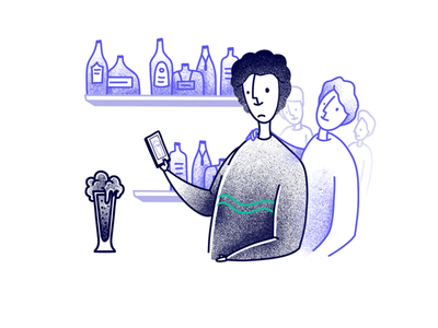 Beverage quality checker wip low brow procreate vector texture editorial illustration beverage app