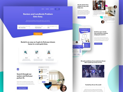 Rento Landing Page Concept ui ux tenant rental landing landlord house homepage colors trend gradient